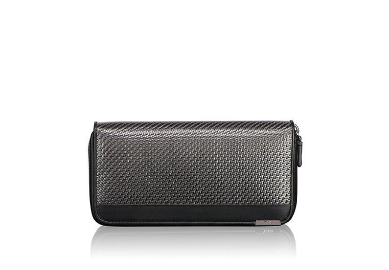 Carbon Fiber Large Zip-Around Travel Wallet