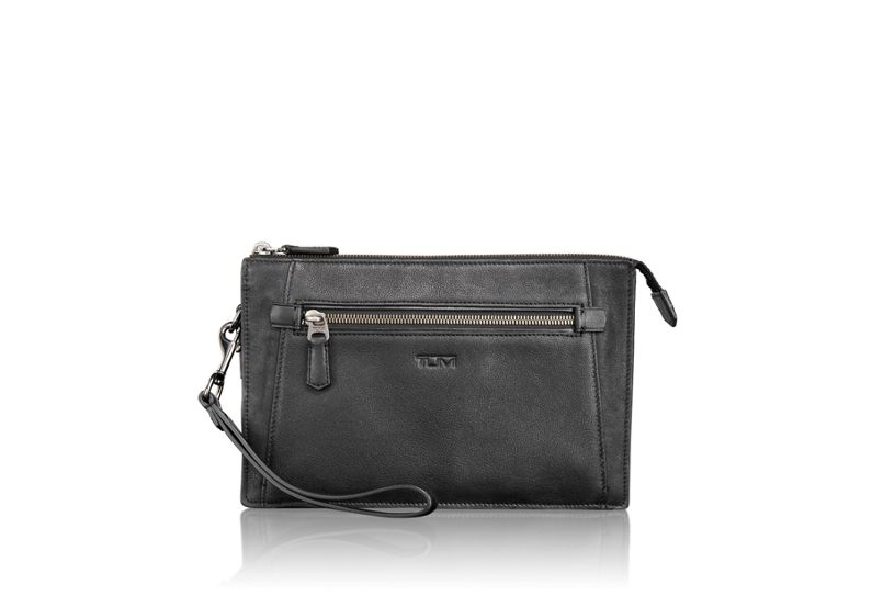Double Zip Top Leather Clutch