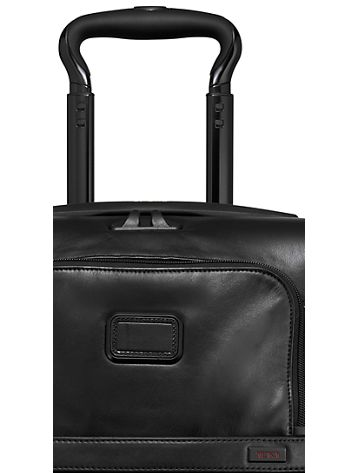 International Expandable 4 Wheeled Leather Carry-On Side View