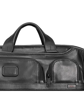 Compact Large Screen Laptop Leather Brief in Black Side View
