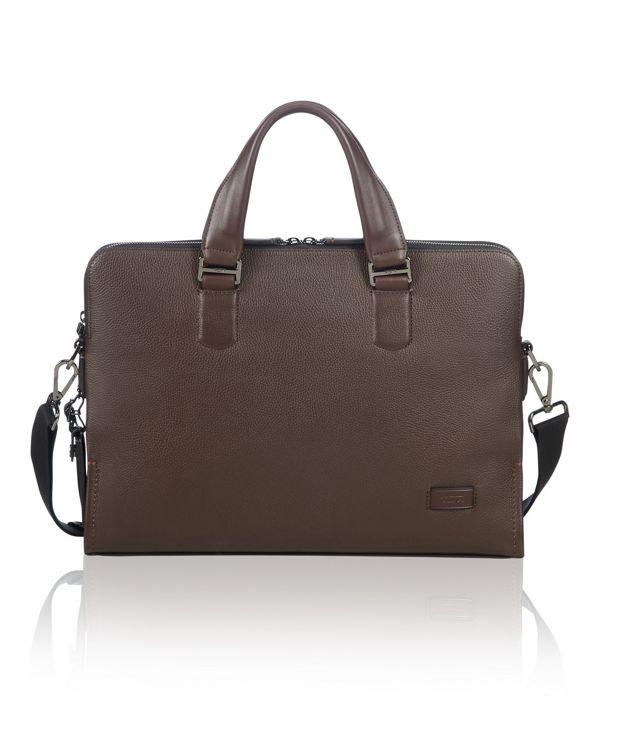 Seneca Slim Brief Leather in Brown Pebbled