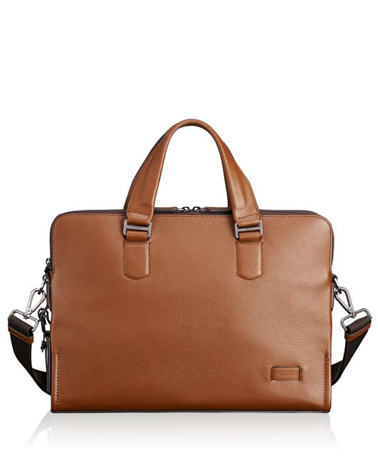 Seneca Slim Brief Leather in Umber Pebbled