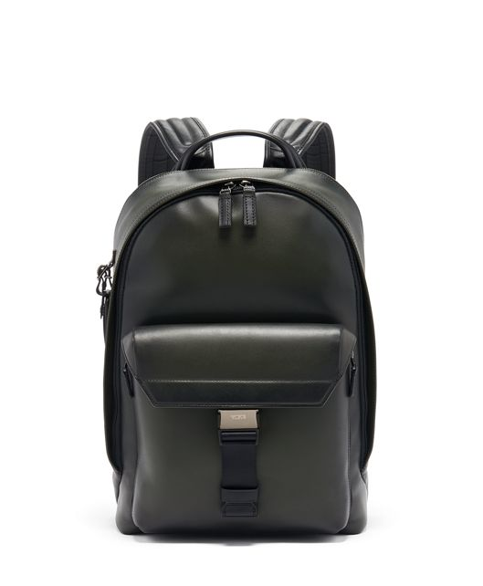 Morrison Backpack Leather in Green Burnished