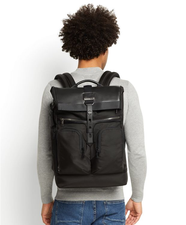 London Roll Top Leather Backpack