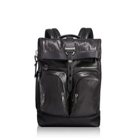 f6ba7ea2c7 London Roll Top Backpack Leather in Black Leather ...