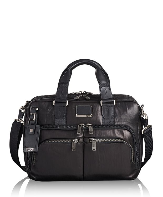 Albany Slim Commuter Brief Leather in Black Leather