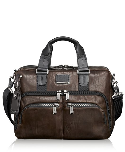 Albany Slim Commuter Leather Brief in Dark Brown