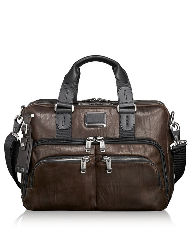 Albany Slim Commuter Brief Leather in Dark Brown