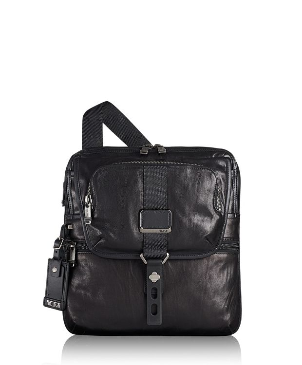 Arnold Zip Flap Leather in Black Leather