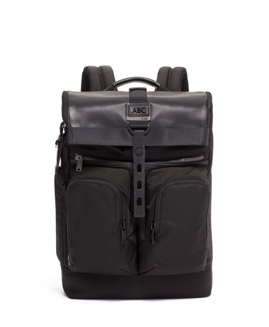 London Roll Top Backpack in Black