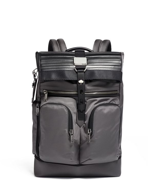 London Roll Top Backpack in Grey/Embossed