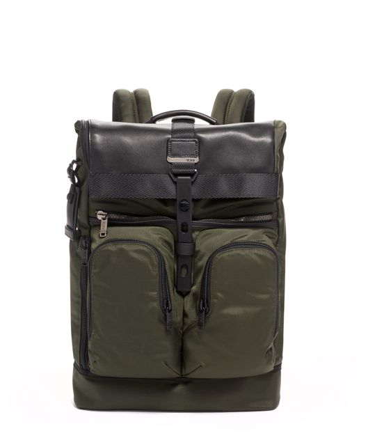 London Roll Top Backpack in Algae