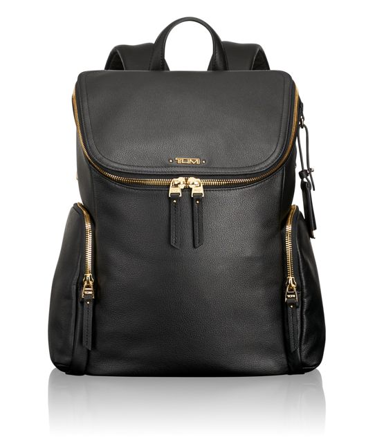 Lexa Zip Flap Leather Backpack in Black