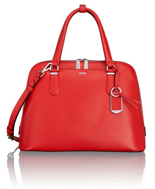 Deonne Domed Satchel in Hot Red