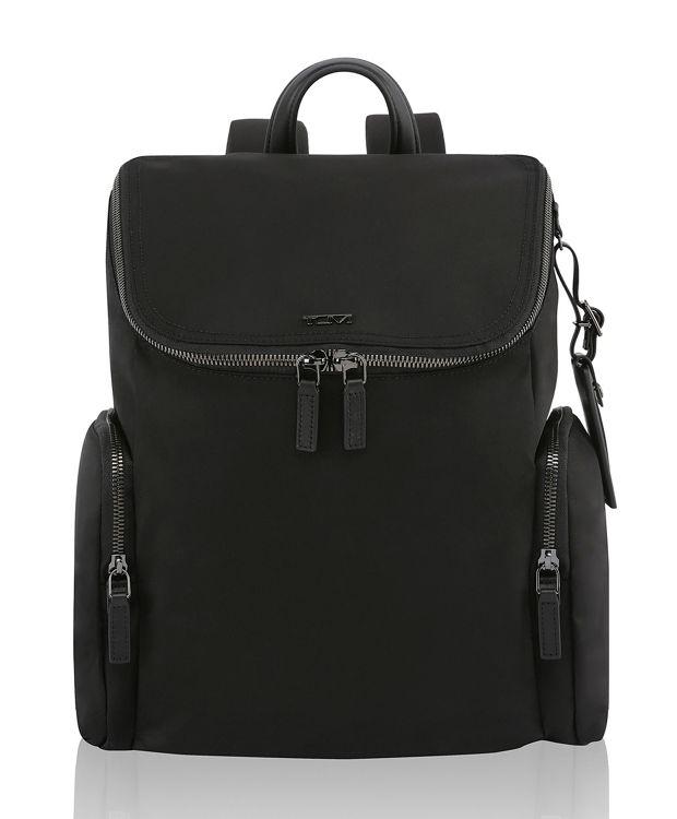 Lexa Zip Flap Backpack in Black/Gunmetal