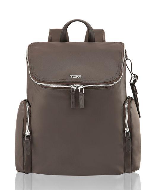 Lexa Zip Flap Backpack in Mink/Silver