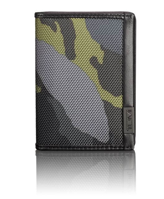 TUMI ID Lock™ Gusseted Card Case in Green Camo