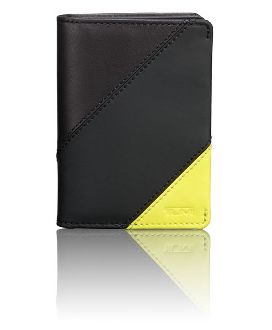 TUMI ID Lock™ Gusseted Card Case in Citron Pieced Leathe