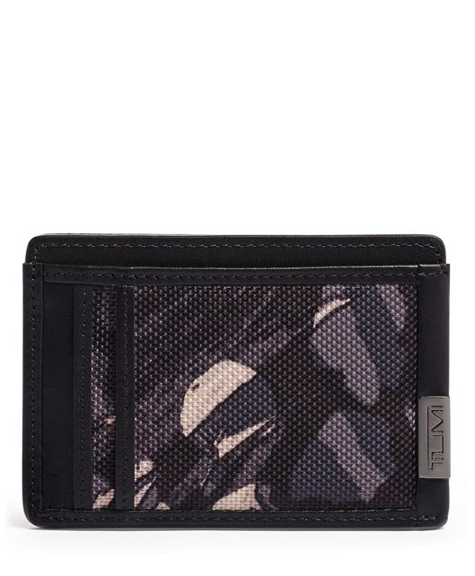 TUMI ID Lock™ Money Clip Card Case in Grey Highlands Print