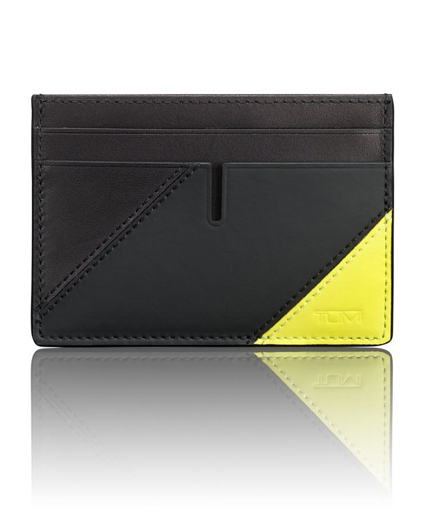 TUMI ID Lock™ Slim Card Case in Citron Pieced Leathe