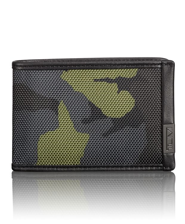TUMI ID Lock™ Slim Single Billfold in Green Camo