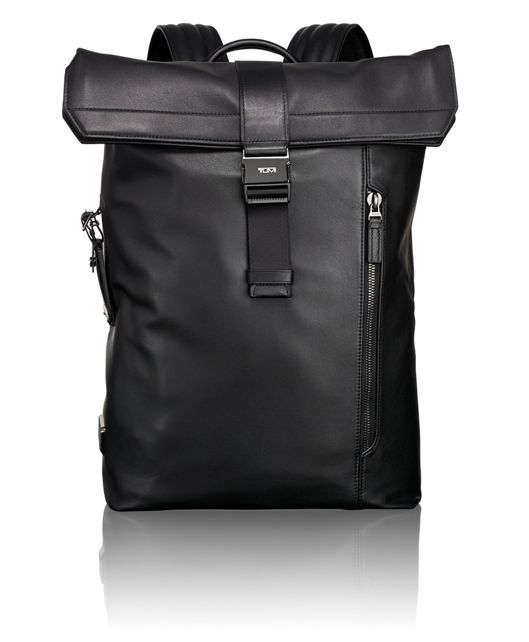 Kenton Foldover Backpack Leather in Black Leather