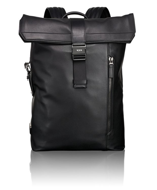 Kenton Foldover Leather Backpack in Black Leather