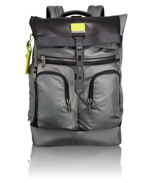 London Roll Top Backpack in Grey/Citron Pop