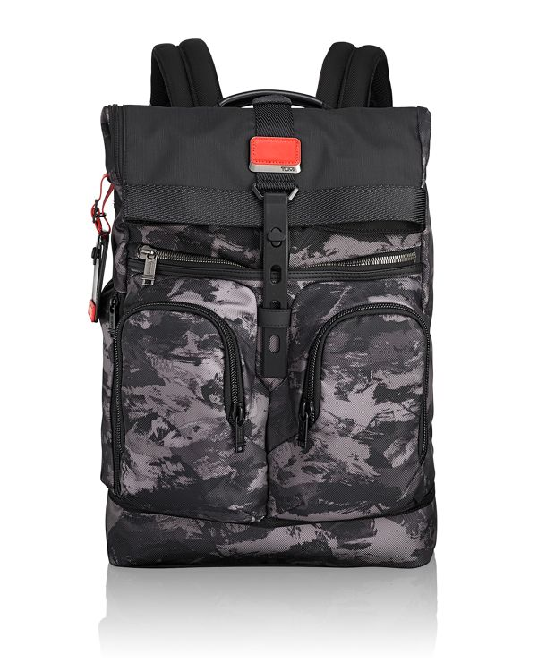 London Roll Top Backpack in Charcoal Restoration