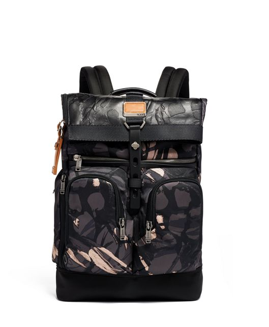 London Roll Top Backpack in Grey Highlands Print