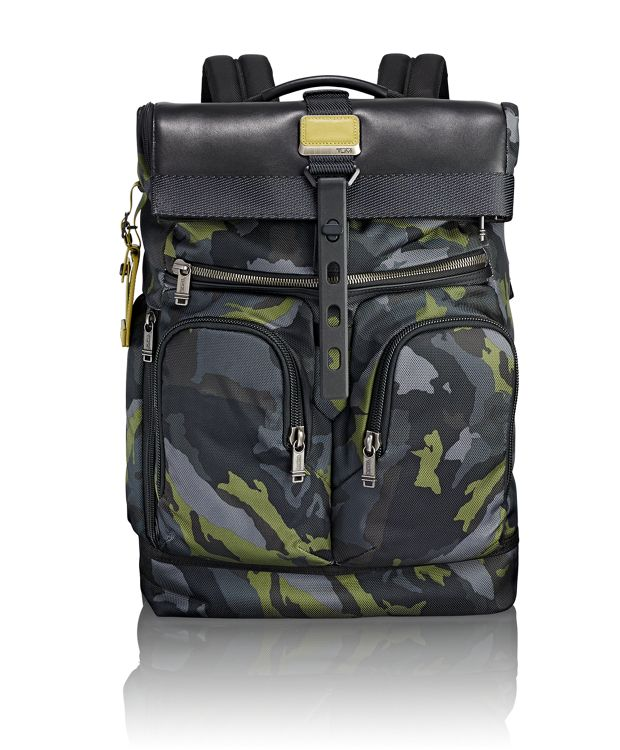 London Roll Top Backpack in Green Camo