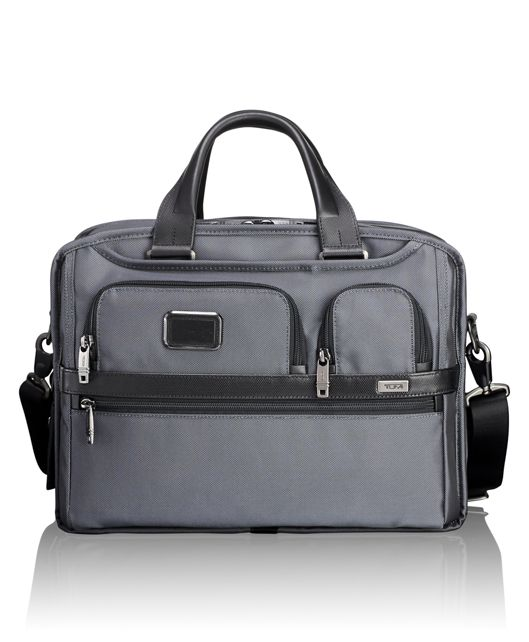 Expandable Organizer Laptop Brief in Pewter