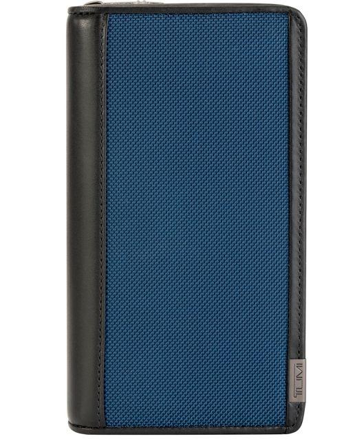 Zip-Around Travel Wallet in Blue/Congo Print