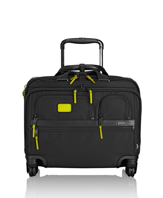 4 Wheeled Deluxe Brief with Laptop Case in Citron
