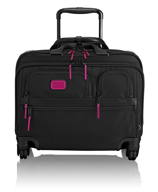 4 Wheeled Deluxe Brief with Laptop Case in Metallic Pink