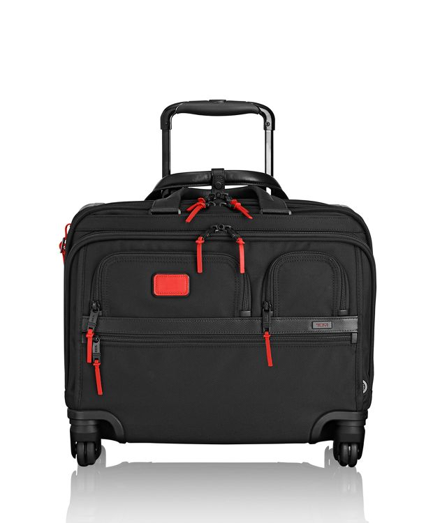 4 Wheeled Deluxe Brief with Laptop Case in Charcoal Restoration