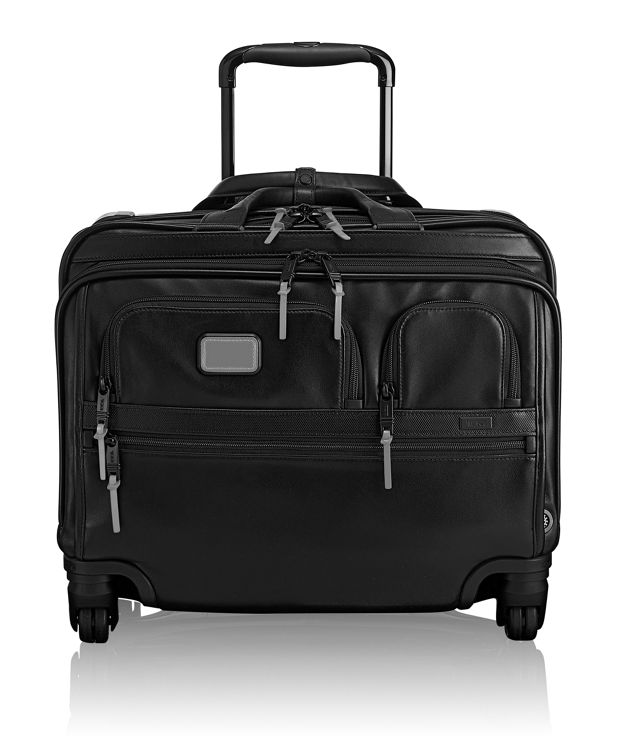 4 Wheeled Deluxe Leather Brief with Laptop Case in Metallic Silver