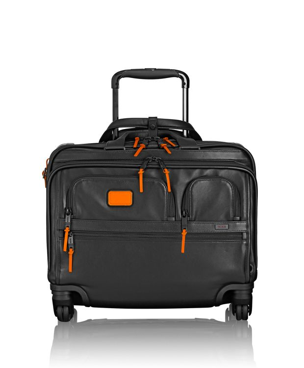 4 Wheeled Deluxe Leather Brief with Laptop Case in Sunrise