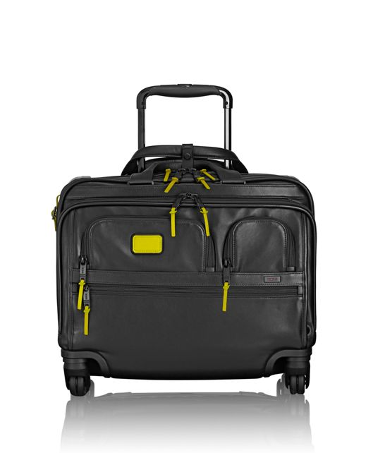 4 Wheeled Deluxe Leather Brief with Laptop Case in Citron