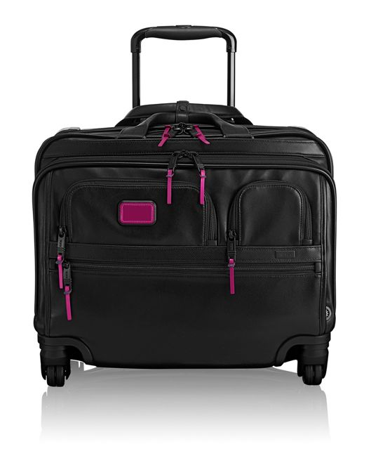 4 Wheeled Deluxe Leather Brief with Laptop Case in Metallic Pink