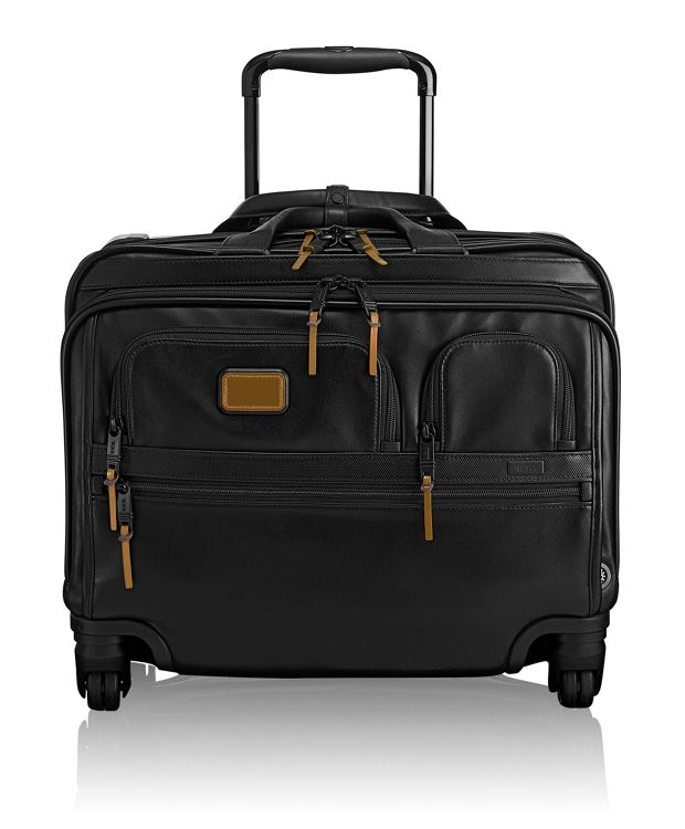 4 Wheeled Deluxe Leather Brief with Laptop Case in Metallic Bronze