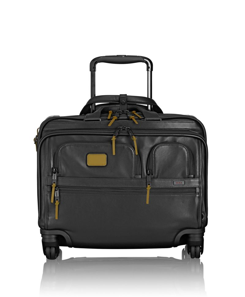 4 Wheeled Deluxe Leather Brief with Laptop Case