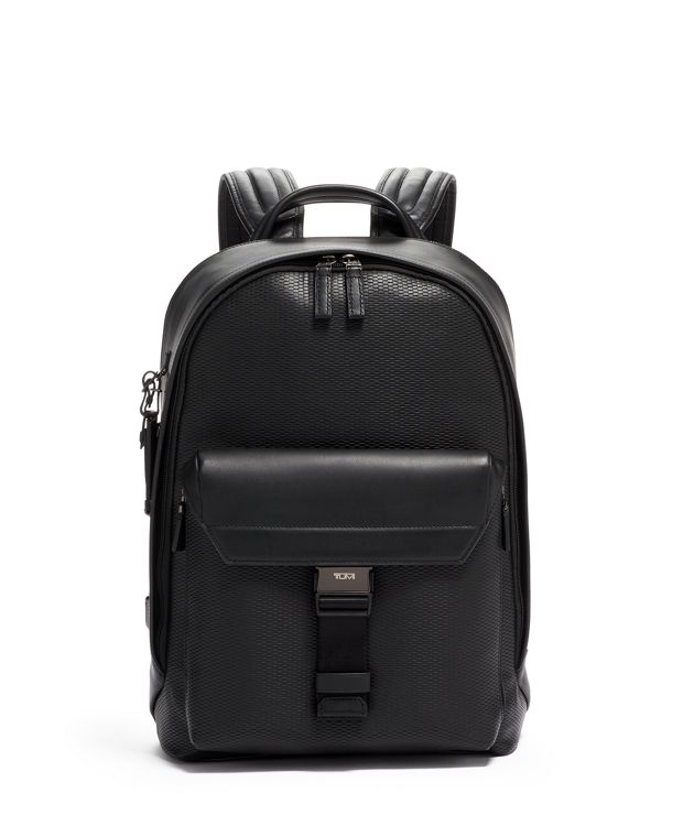 Morrison Backpack Leather in Black Perforated