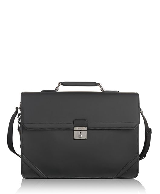 Palmer Flap Brief Leather in Black Leather