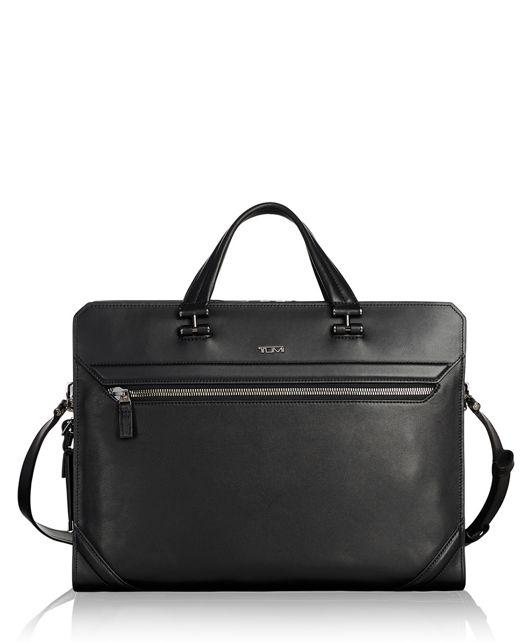 Benton Double Zip Brief Leather in Black Leather
