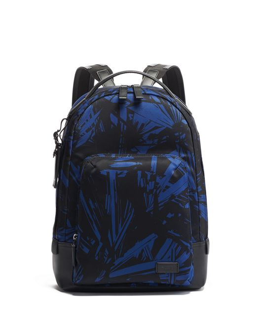 Cooper Slim Backpack in Blue Palm Print