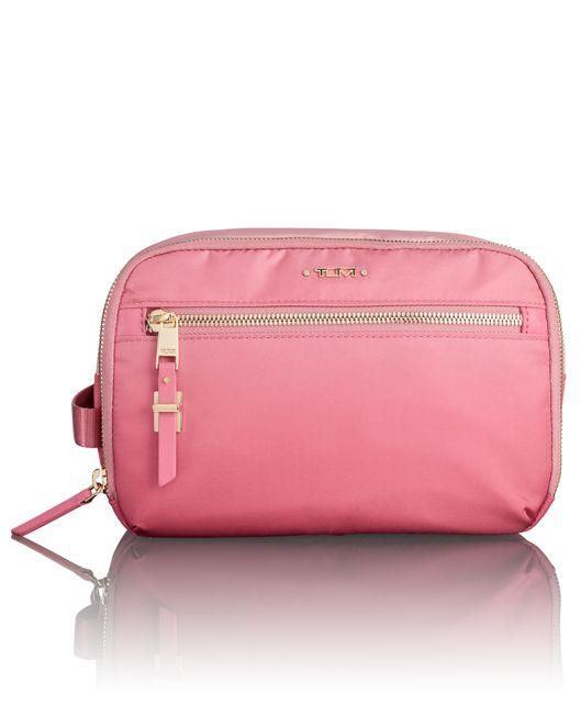 Erie Double Zip Cosmetic in Pink Ombre