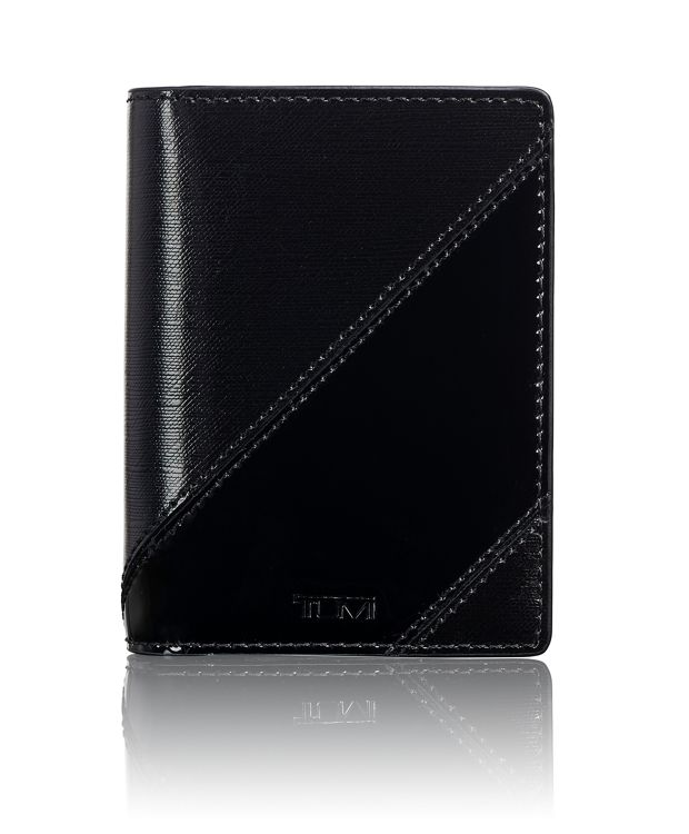 Gusseted Card Case in Black/Patent