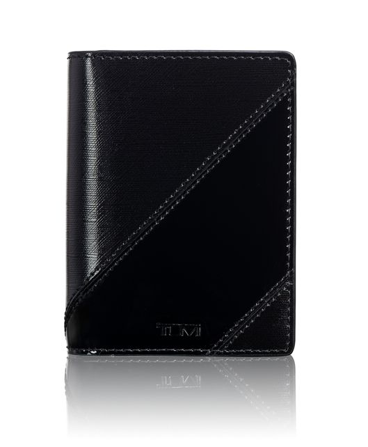 TUMI ID Lock™ Gusseted Card Case in Black/Patent