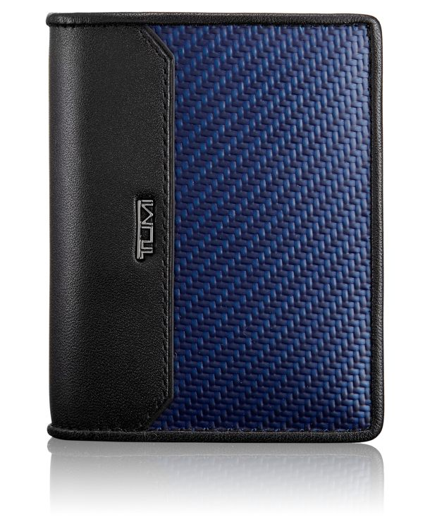 Carbon Fiber Gusseted Card Case in Navy